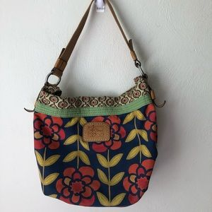 Fossil Floral Canvas Hobo Shoulder Bag